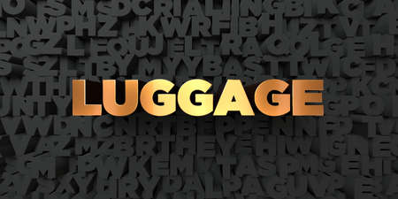 Luggage - Gold text on black background - 3D rendered royalty free stock picture. This image can be used for an online website banner ad or a print postcard.