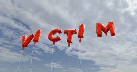 VICTIM - red foil balloons on blue sky - 3D rendered royalty free stock picture. This image can be used for an online website banner ad or a print postcard.