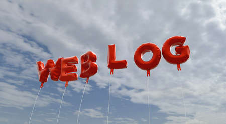WEBLOG - red foil balloons on blue sky - 3D rendered royalty free stock picture. This image can be used for an online website banner ad or a print postcard.