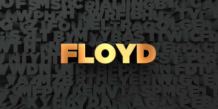 floyd: Floyd - Gold text on black background - 3D rendered royalty free stock picture. This image can be used for an online website banner ad or a print postcard. Stock Photo
