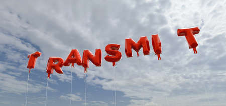 transmit: TRANSMIT - red foil balloons on blue sky - 3D rendered royalty free stock picture. This image can be used for an online website banner ad or a print postcard.