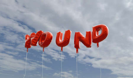 wound: WOUND - red foil balloons on blue sky - 3D rendered royalty free stock picture. This image can be used for an online website banner ad or a print postcard.
