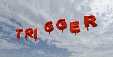 trigger: TRIGGER - red foil balloons on blue sky - 3D rendered royalty free stock picture. This image can be used for an online website banner ad or a print postcard.