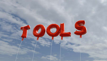 copy text: TOOLS - red foil balloons on blue sky - 3D rendered royalty free stock picture. This image can be used for an online website banner ad or a print postcard.