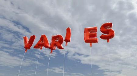 VARIES - red foil balloons on blue sky - 3D rendered royalty free stock picture. This image can be used for an online website banner ad or a print postcard. Banco de Imagens