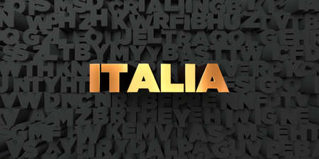 italia: Italia - Gold text on black background - 3D rendered royalty free stock picture. This image can be used for an online website banner ad or a print postcard. Stock Photo