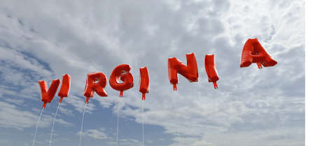 3d virginia: VIRGINIA - red foil balloons on blue sky - 3D rendered royalty free stock picture. This image can be used for an online website banner ad or a print postcard.