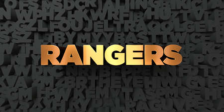 Rangers - Gold text on black background - 3D rendered royalty free stock picture. This image can be used for an online website banner ad or a print postcard.