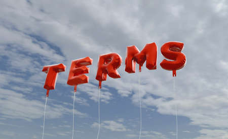 TERMS - red foil balloons on blue sky - 3D rendered royalty free stock picture. This image can be used for an online website banner ad or a print postcard.