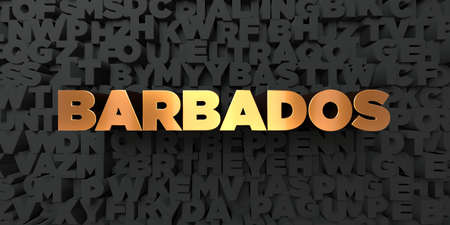 Barbados - Gold text on black background - 3D rendered royalty free stock picture. This image can be used for an online website banner ad or a print postcard.