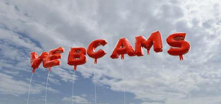 - Cámaras de globos de la hoja de color rojo en el cielo azul - 3D representa la imagen de stock libre de derechos. Esta imagen se puede utilizar para un anuncio bandera del Web site en línea o una postal de impresión. Foto de archivo - 65368973