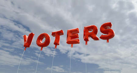 voters: VOTERS - red foil balloons on blue sky - 3D rendered royalty free stock picture. This image can be used for an online website banner ad or a print postcard.