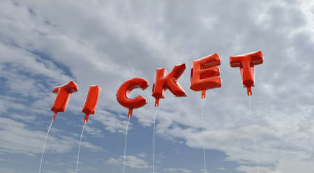 royalty free: TICKET - red foil balloons on blue sky - 3D rendered royalty free stock picture. This image can be used for an online website banner ad or a print postcard.
