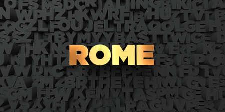 로마 - 검은 색 바탕에 골드 텍스트 - 3D 렌더링 로열티 무료 재고 사진. 이 이미지는 온라인 웹 사이트 배너 광고 또는 인쇄 엽서에 사용할 수 있습니다.