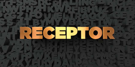 receptor: Receptor - Gold text on black background - 3D rendered royalty free stock picture. This image can be used for an online website banner ad or a print postcard.