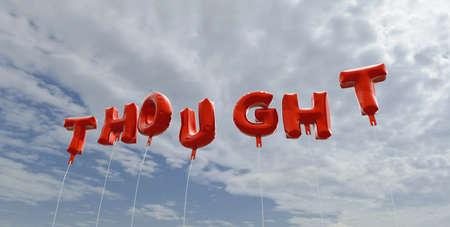 생각나서 - 푸른 하늘 - 빨간 호 풍선 풍선 렌더링 3D 로열티 무료 재고 사진입니다. 이 이미지는 온라인 웹 사이트 배너 광고 또는 인쇄 엽서에 사용할  스톡 콘텐츠