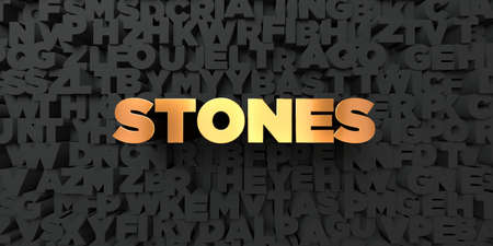 royalty free: Stones - Gold text on black background - 3D rendered royalty free stock picture. This image can be used for an online website banner ad or a print postcard.