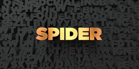 거미 - 검은 색 바탕에 골드 텍스트 - 3D 렌더링 로열티 무료 재고 사진. 이 이미지는 온라인 웹 사이트 배너 광고 또는 인쇄 엽서에 사용할 수 있습니다.