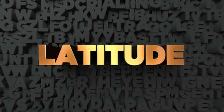 Latitude - Gold text on black background - 3D rendered royalty free stock picture. This image can be used for an online website banner ad or a print postcard.
