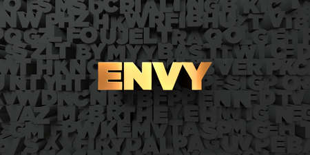 envy: Envy - Gold text on black background - 3D rendered royalty free stock picture. This image can be used for an online website banner ad or a print postcard. Stock Photo