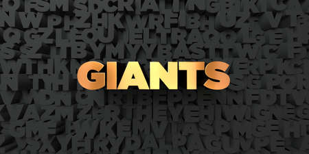 giants: Giants - Gold text on black background - 3D rendered royalty free stock picture. This image can be used for an online website banner ad or a print postcard.