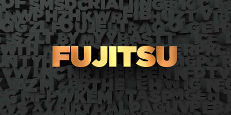 Fujitsu - Gold text on black background - 3D rendered royalty free stock picture. This image can be used for an online website banner ad or a print postcard. Publikacyjne