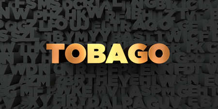 Tobago - Gold text on black background - 3D rendered royalty free stock picture. This image can be used for an online website banner ad or a print postcard. Stock Photo