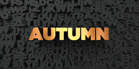 Autumn - Gold text on black background - 3D rendered royalty free stock picture. This image can be used for an online website banner ad or a print postcard.