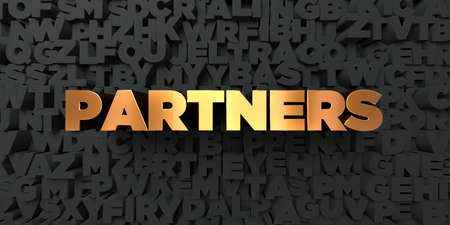 Partners - Gold text on black background - 3D rendered royalty free stock picture. This image can be used for an online website banner ad or a print postcard.