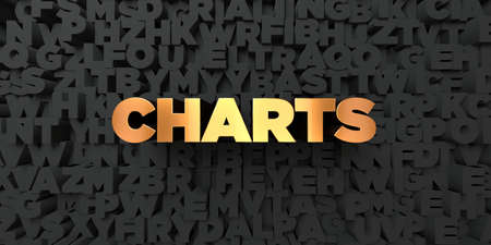 Charts - Gold text on black background - 3D rendered royalty free stock picture. This image can be used for an online website banner ad or a print postcard.