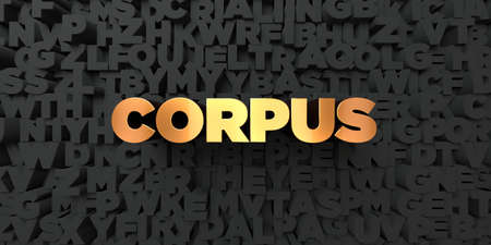 corpus: Corpus - Gold text on black background - 3D rendered royalty free stock picture. This image can be used for an online website banner ad or a print postcard. Stock Photo