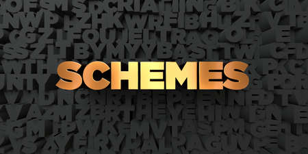 schemes: Schemes - Gold text on black background - 3D rendered royalty free stock picture. This image can be used for an online website banner ad or a print postcard.