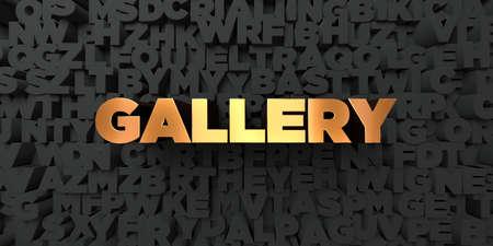 Galeria - złoty tekst na czarnym tle - 3D odpłacający się królewskość bezpłatny akcyjny obrazek. Tego obrazu można użyć do banera internetowego lub karty pocztowej.