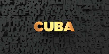 쿠바 - 검은 색 바탕에 골드 텍스트 - 3D 렌더링 로열티 무료 재고 사진. 이 이미지는 온라인 웹 사이트 배너 광고 또는 인쇄 엽서에 사용할 수 있습니다.