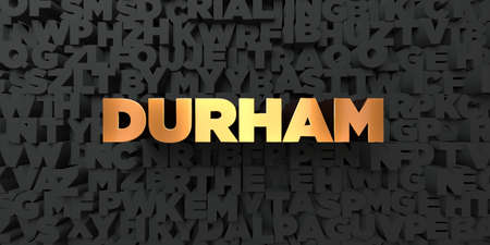 durham: Durham - Gold text on black background - 3D rendered royalty free stock picture. This image can be used for an online website banner ad or a print postcard.