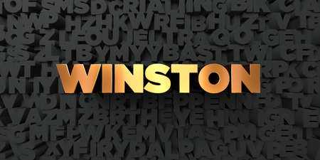 winston: Winston - Gold text on black background - 3D rendered royalty free stock picture. This image can be used for an online website banner ad or a print postcard.