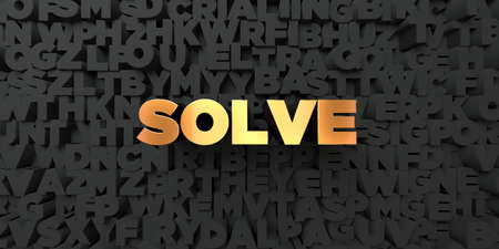 solve: Solve - Gold text on black background - 3D rendered royalty free stock picture. This image can be used for an online website banner ad or a print postcard. Stock Photo