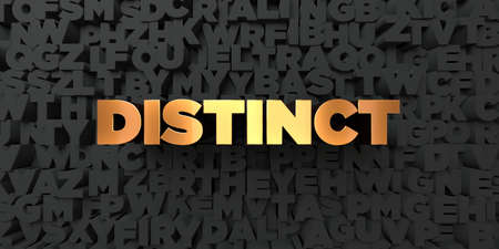 distinct: Distinct - Gold text on black background - 3D rendered royalty free stock picture. This image can be used for an online website banner ad or a print postcard.