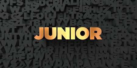 royalty free: Junior - Gold text on black background - 3D rendered royalty free stock picture. This image can be used for an online website banner ad or a print postcard.