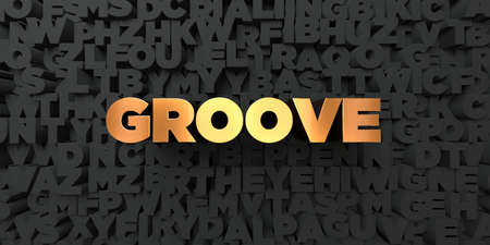 groove: Groove - Gold text on black background - 3D rendered royalty free stock picture. This image can be used for an online website banner ad or a print postcard.