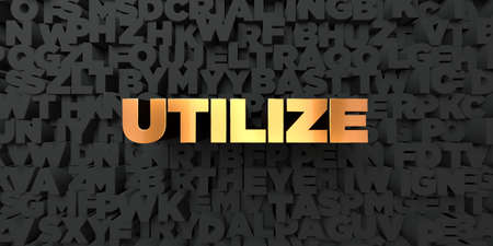 utilize: Utilize - Gold text on black background - 3D rendered royalty free stock picture. This image can be used for an online website banner ad or a print postcard. Stock Photo
