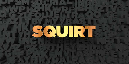 squirt: Squirt - Gold text on black background - 3D rendered royalty free stock picture. This image can be used for an online website banner ad or a print postcard.