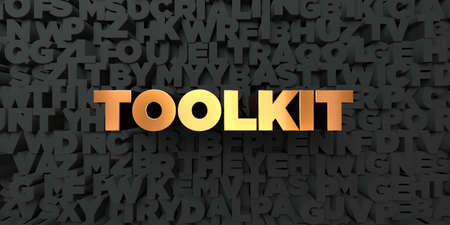 toolkit: Toolkit - Gold text on black background - 3D rendered royalty free stock picture. This image can be used for an online website banner ad or a print postcard.