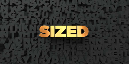 sized: Sized - Gold text on black background - 3D rendered royalty free stock picture. This image can be used for an online website banner ad or a print postcard.