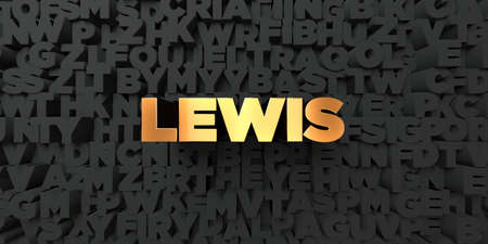 lewis: Lewis - Gold text on black background - 3D rendered royalty free stock picture. This image can be used for an online website banner ad or a print postcard. Stock Photo