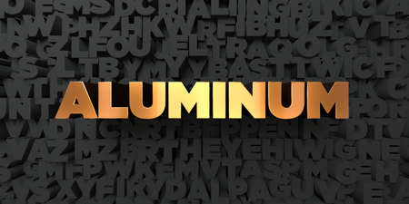 Aluminum - Gold text on black background - 3D rendered royalty free stock picture. This image can be used for an online website banner ad or a print postcard. Stock Photo