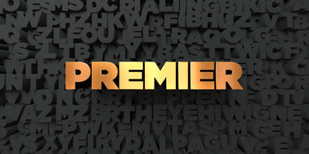 premier: Premier - Gold text on black background - 3D rendered royalty free stock picture. This image can be used for an online website banner ad or a print postcard. Stock Photo