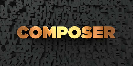 Composer - Gold text on black background - 3D rendered royalty free stock picture. This image can be used for an online website banner ad or a print postcard.