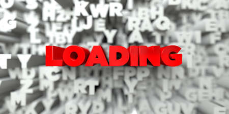 royalty: LOADING -  Red text on typography background - 3D rendered royalty free stock image. This image can be used for an online website banner ad or a print postcard.