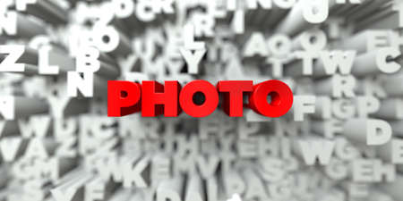 royalty free photo: PHOTO -  Red text on typography background - 3D rendered royalty free stock image. This image can be used for an online website banner ad or a print postcard.